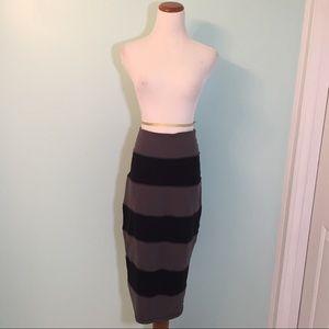 Lululemon Grey And Black Striped Yoga Over Skirt
